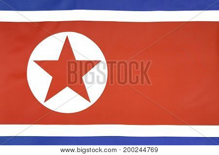 Textile North Korea flag as a background