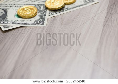 Banknote and space on wooden , business finance concept