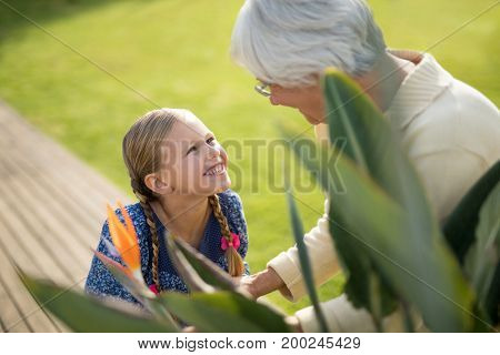 Smiling granddaughter and grandmother standing near the plant in garden