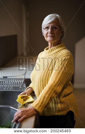 Portrait of smiling senior woman standing near kitchen worktop