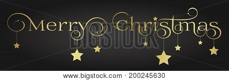 Elegant and noble gold Merry Christmas lettering design with hanging stars and star decoration on a dark background.