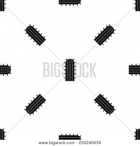 Cereus Candicans cactus pattern repeat seamless in black color for any design. Vector geometric illustration