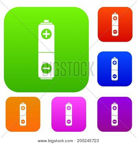 Battery set icon in different colors isolated vector illustration. Premium collection
