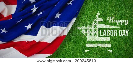 Composite image of happy labor day text and star shape American flag against closed up view of grass