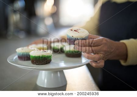 Mid section of senior woman picking up the cupcake from the tray