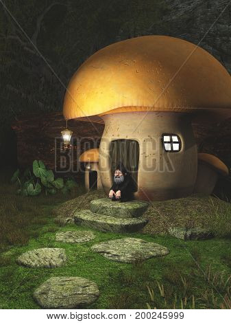 Fantasy illustration of a gnome sitting outside his toadstool house in a forest, digital illustration (3d rendering)