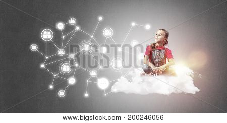 Cute smiling girl sitting on cloud presenting social connection concept