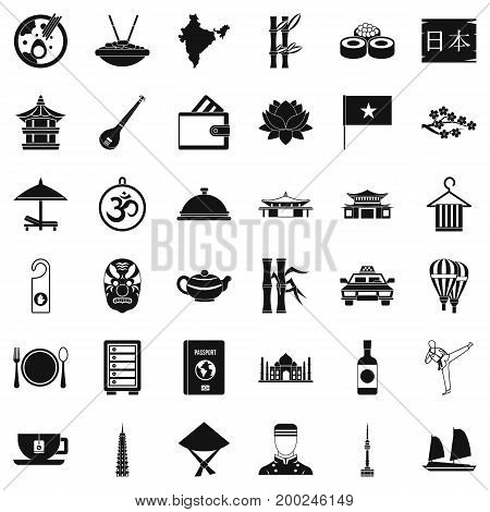 Tasty dish icons set. Simple style of 36 tasty dish vector icons for web isolated on white background