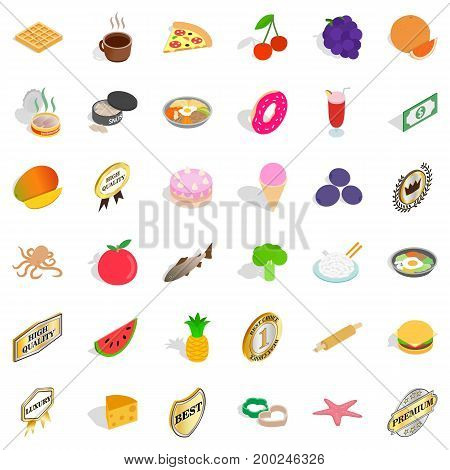 Food in dish icons set. Isometric 36 food in dish vector icons for web isolated on white background