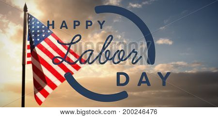Digital composite image of happy labor day text with blue outline against cloudy sky landscape