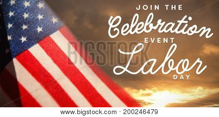 Digital composite image of join celebratio event labor day text against cloudy sky landscape
