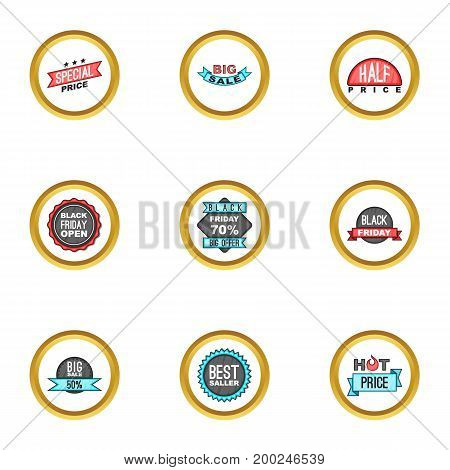 Offer icons set. Cartoon illustration of 9 offer vector icons for web design
