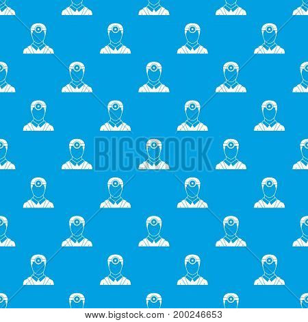 Ophthalmologist with head mirror pattern repeat seamless in blue color for any design. Vector geometric illustration
