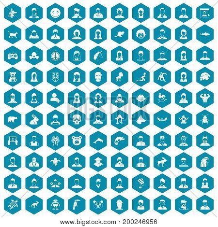 100 avatar icons set in sapphirine hexagon isolated vector illustration