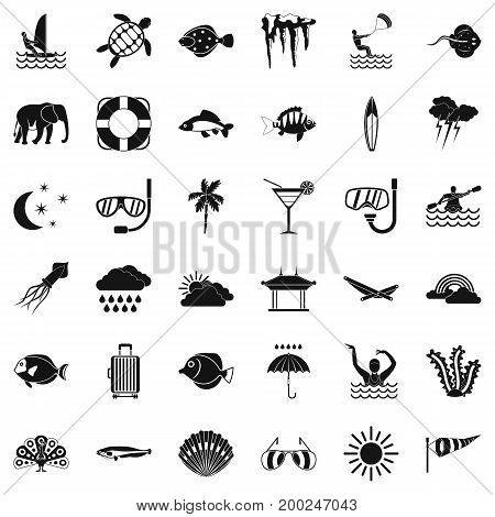 Diving in water icons set. Simple style of 36 diving in water vector icons for web isolated on white background