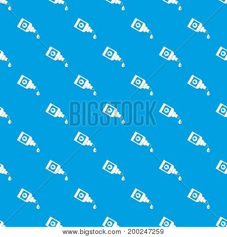 Bottle for eye drops pattern repeat seamless in blue color for any design. Vector geometric illustration