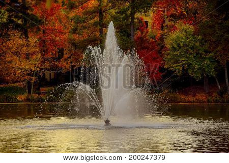 The golden glow of the sun on a fountain with colorful trees in the background