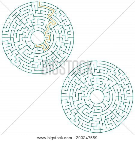 Circular labyrinth with an answer. puzzle. vector illustration