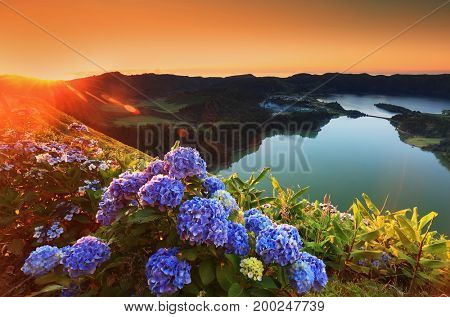 Landscapes of Sete Cidades, Sao Miguel Island, Azores, Portugal, Europe