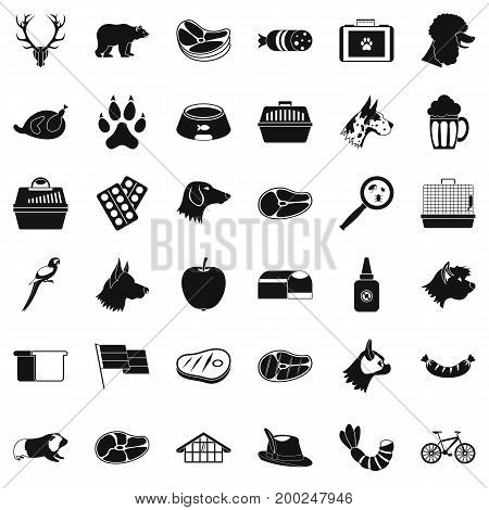 Animal dog icons set. Simple style of 36 animal dog vector icons for web isolated on white background