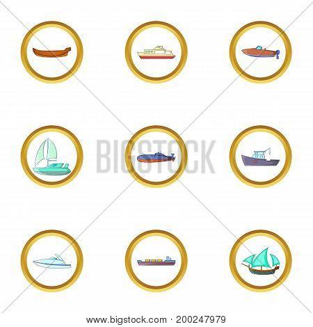 Sea cargo icons set. Cartoon illustration of 9 sea cargo vector icons for web design