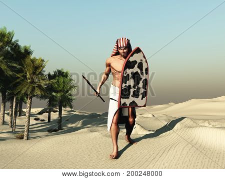 3d illustration of a soldier of ancient Egypt