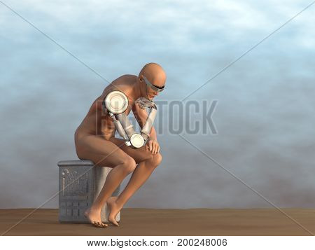 3d illustration of a cyborg thinker with mechanical parts