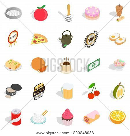 Delicious dishe icons set. Cartoon set of 25 delicious dishe vector icons for web isolated on white background