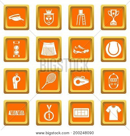 Tennis icons set in orange color isolated vector illustration for web and any design