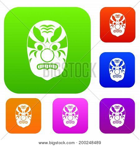 Tribal mask set icon in different colors isolated vector illustration. Premium collection