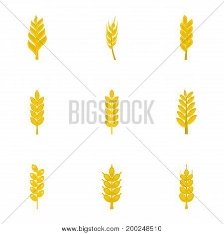 Cereal grain icon set. Flat style set of 9 cereal grain vector icons for web isolated on white background