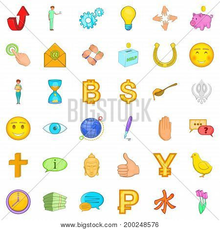 Help in donation icons set. Cartoon style of 36 help in donation vector icons for web isolated on white background