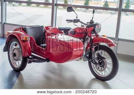 SOCHI, RUSSIA - APRIL 23, 2017: Famous Russian motorcycle Ural which took part in ceremony of opening winter Olympic Games in Sochi
