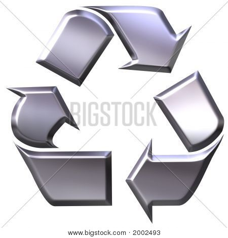 3D Silver Recycling Symbol For Metals