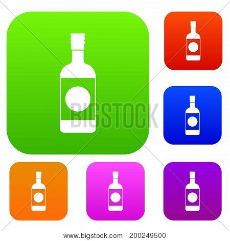 Japanese sake set icon in different colors isolated vector illustration. Premium collection