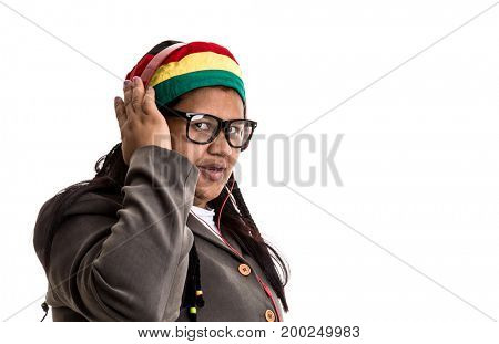 Portrait of an African woman hipster