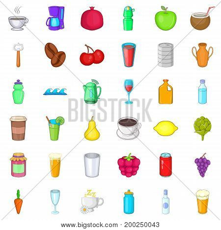 Cold drink icons set. Cartoon style of 36 cold drink vector icons for web isolated on white background