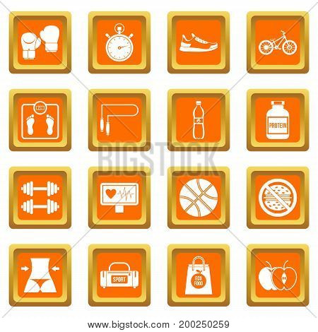 Healthy life icons set in orange color isolated vector illustration for web and any design