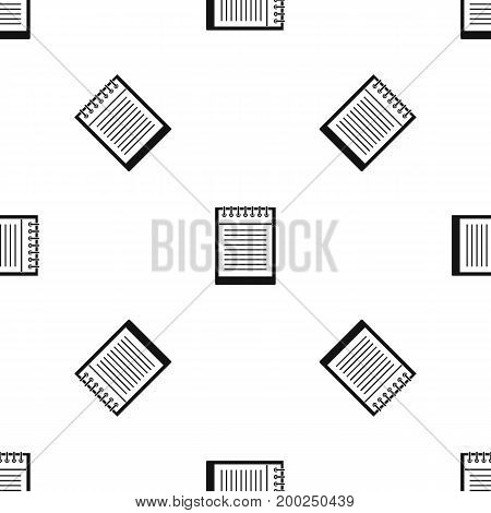 Spiral notepad pattern repeat seamless in black color for any design. Vector geometric illustration