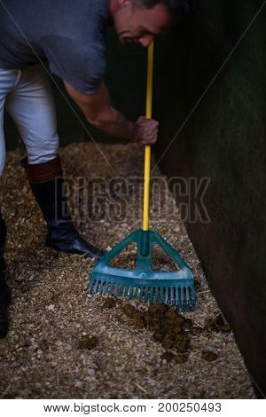 Mature man using broom to clean the stable