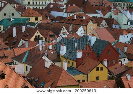 The roof of Cesky Krumlov houses in Bohemia, Czech Republic