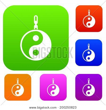 Sign yin yang set icon in different colors isolated vector illustration. Premium collection