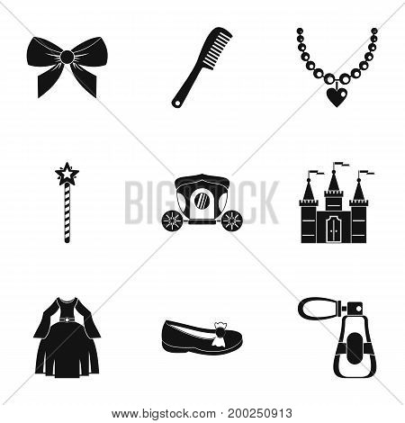 Princess fairy tail icon set. Simple style set of 9 princess fairy tail vector icons for web isolated on white background