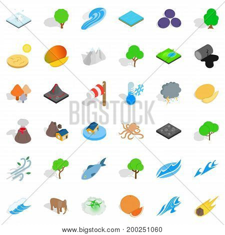 Save the earth icons set. Isometric style of 36 save the earth vector icons for web isolated on white background