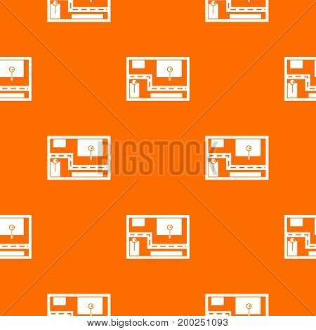 Navigator pattern repeat seamless in orange color for any design. Vector geometric illustration
