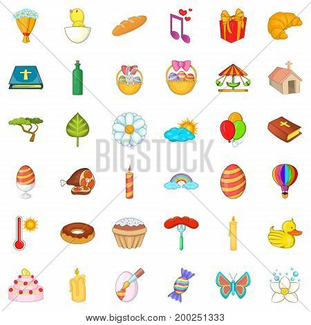 Easter holiday icons set. Cartoon style of 36 easter holiday vector icons for web isolated on white background