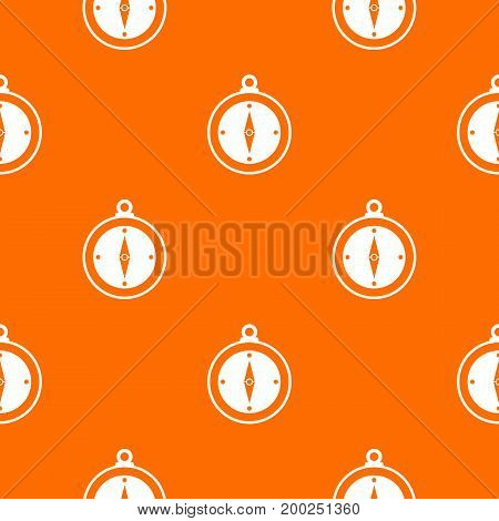 Compass pattern repeat seamless in orange color for any design. Vector geometric illustration