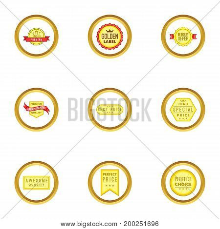 Prize icons set. Cartoon illustration of 9 prize vector icons for web design