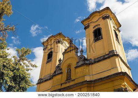 high old church building exterior facade view
