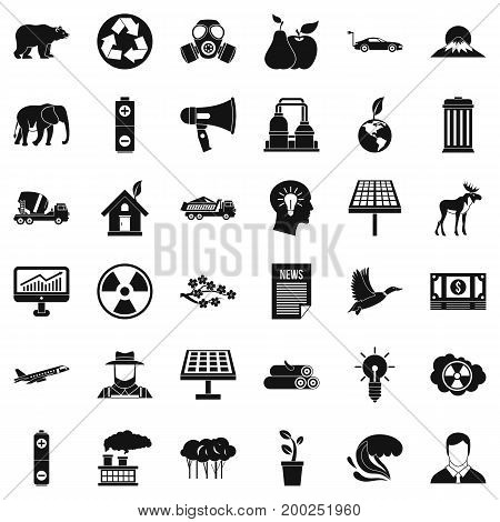 Ecology care icons set. Simple style of 36 ecology care vector icons for web isolated on white background